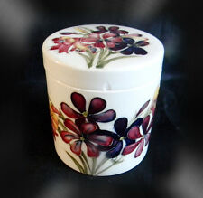 Moorcroft art pottery vintage round jar with lid - floral design FREE SHIPPING