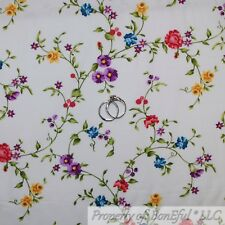 BonEful Fabric FQ Cotton Quilt White Pink Purple Yellow Small Flower Shabby Chic