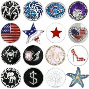 USA Flag Snap Buttons 18mm/20mm Crystal Buttons Jewelry for DIY Bracelet Making