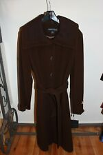 winter coat kenneth cole wool cashmere blend brown size 14 belted