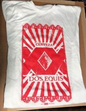 **NEW** DOS EQUIS BEER SHIRT, WHITE WITH BRIGHT RED GRAPHICS, MENS LARGE, --XX,