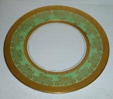 "Omeco Plate Green Heavy Gold Vtg Czechoslovakia Czech 11"""