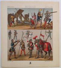 Chevaliers Arbalete MOYEN AGE Chromolithographie originale RACINET 1888