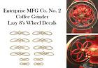 Enterprise MFG. Co.  No. 2  Coffee Grinder Mill  Wheel Restoration Decal Set