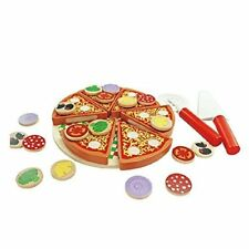Montessori Wooden Pizza Food Set with Toppings Pre-Kindergarten Toy for Toddlers