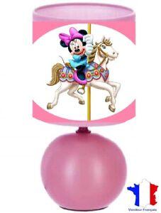 Lampe de chevet Minnie sur un cheval en bois - création artisanale collage