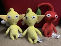 Lot Of 3 World of Nintendo Pikmin Red Yellow Flower Plush Jakks Pacific OFFICIAL