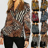 Women Spring Autumn Casual Blouse Tops V-Neck Long Sleeve Chiffon Print T-Shirt