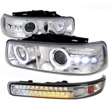 99-02 Silverado 00-05 Suburban Tahoe Projector Chrome Headlights LED Turn Signal