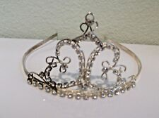 Small Vintage Metal  Tiara with Rhinestones