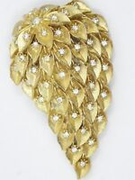 """VINTAGE 60's ABSTRACT RHINESTONE JEWELED FLOWER BROOCH PIN ~ 2.5"""""""
