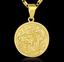 18k Yellow Gold Chain Link Men's Women's Dragon Pendant Necklace Wgiftpkg D674b