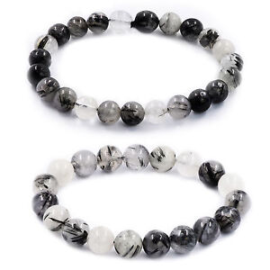 "Handmade Natural Gemstone Round Beads Stretch Bracelet Bangle 7.5"" You Choose"