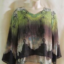 ONE WORLD~Green Multi ~Embellished~ Bell Sleeved~Sheer Overlay~ V-Neck Top~M~NEW