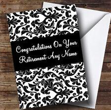 Black & White Damask Personalised Retirement Greetings Card