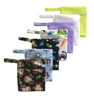 Wet bags zippered in Fleecy or Smooth outer, water proof, holds 10 to 12 nappies