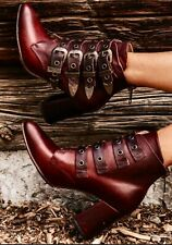 NEW FREEBIRD BY STEVEN JAYDEN WINE LEATHER ANKLE  BOOTS BOOTIES SIZE 9