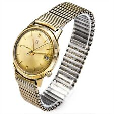 Vintage Bulova Accutron Gold Filled Tuning Fork Men's Date Watch 34 mm