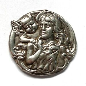 Antique Button ~ Lovely Art Nouveau Hallmarked Silver Button w Cherub & Woman