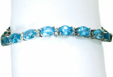 20.46ct Blue Topaz & Diamond Bracelet in 14K White  Gold