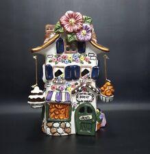 """Blue Sky Clayworks Bakery Tea Light House 8.5"""" Tall Rare! Candle Holder"""