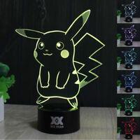 Pokemon Pocket Monster Pikachu 3D LED Night Light 7 Color Touch Desk Table Lamp