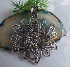 großer Anhänger Blüte Sternblüte Blume Amulett Kettenanhänger Metall Silber