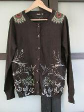Gilet cardigan noir DESIGUAL T XL 40/42 TBE motifs oiseaux fleurs