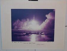 ORIGINAL *APOLLO 17 ROCKET LAUNCH @ NIGHT* SPACE PHOTOGRAPH signed by NASA ADMIN