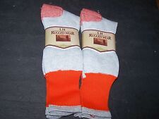 4pr LH Rugged Wear Wool Socks 10-13 Orange / Grey 2 Packs