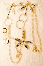 vintage style jewelry set long BUTTERFLY necklace earrings gold tone