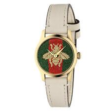 New Gucci G-Timeless Gold-Tone Leather Strap Womens Watch YA1265009