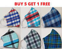 Triple Layer Reusable Mask with Built-In Filter, Professional Made - Plaid