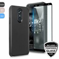 For LG K40/Solo LTE Shockproof Rubber Phone Case Cover+Black Tempered Glass