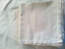 Off white French Normandy lace trim cotton tablecloth 64 x 115 + 7 napkins vtg