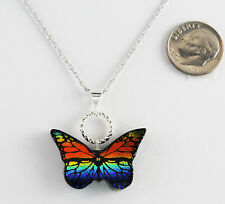 Dichroic Glass Butterfly Pendant 30X18mm Sterling Chain