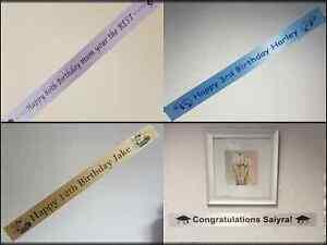 Birthday Banner 1 metre satin ribbon Any Name/Message/Theme You Design, We Print