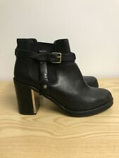 Topshop Black Leather Ankle Boots Size 6 Chunky Heel Buckle Up Chelsea Boots B25
