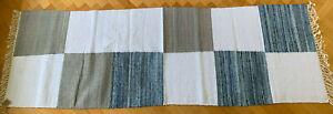 Eco Denim Cotton Rug Chindi Rag Runner 250x80cm Handmade Recycled Blue Hallway