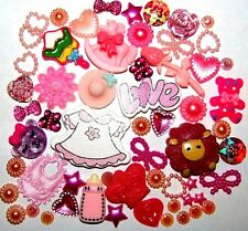 PACK 50 BABY GIRL BIRTH PINK FLATBACK RESIN CABOCHONS EMBELLISHMENTS CARD CRAFTS