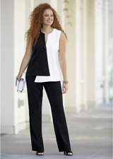 Black and Ivory.  Opposites Attract Pant Suit.  Sz. 18W.  Monroe and Main.