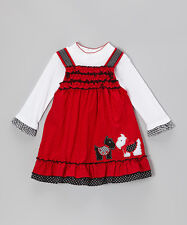 Rare Editions White Bodysuit & Red Scottie Dog Dress - 2 Piece Set - 3/6 Mo NWT
