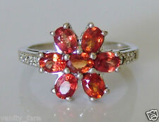 Beautiful 9ct White Gold Sunset Sapphire & Diamond Ring Size N