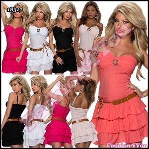 Ladies Mini Dress Sexy Women Summer Short Sundress with Belt One Size 6,8,10 UK