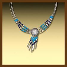 necklace silver plate with light blue and dark blue tubes sterling silver 92.5