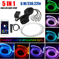 5 in 1 RGB Auto LED Ambientebeleuchtung Fußraumbeleuchtung Lampe Lichtleiste 6M