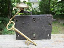 1700's 1800's Antique Dutch Heavy Iron Lock Unique Mechanism Unusual Design