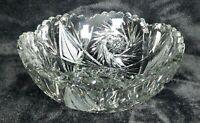 NEAR MINT Brilliant Cut Vintage GREY Crystal Hobstar & Tree Design Bowl RARE