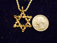 bling gold plated 6 point star magic pendant charm rope chain hip hop necklace