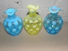 3 FENTON COIN DOT VASELINE AND BLUE OPALESCENT VANITY LAMP BASES